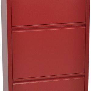Schuhschrank Melika, aus Metall, 3 Schuhklappen, Höhe 113,5 cm B/H/T: 50 x 15 rot Schuhschränke Garderoben