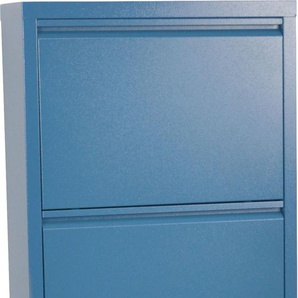 Schuhschrank Melika, aus Metall, 4 Schuhklappen, Höhe 139,5 cm B/H/T: 50 x 15 blau Schuhschränke Garderoben