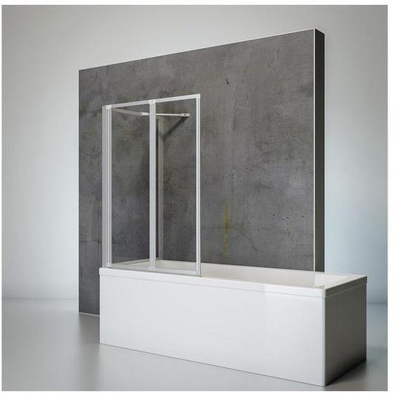 Schulte Badewannenfaltwand 2-teilig mit Seitenwand zum Kleben oder Bohren