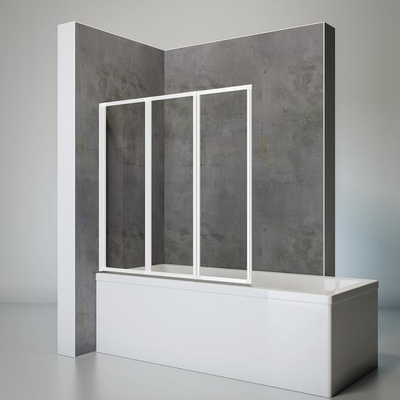 Schulte Badewannenfaltwand Komfort vollgerahmt, weiß, 127 x 140 cm, 3-teilig