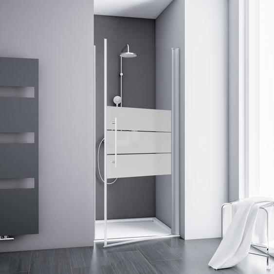 Schulte Drehtür für Nische Alexa Style 2.0 teilgerahmt, gestreift, aluminiumfarben, 80 x 192 cm