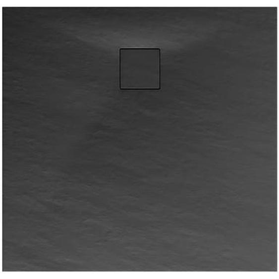 Schulte Duschwanne, Mineralguss, flach, anthrazit, quadratisch, 90 x 90 x 4 cm