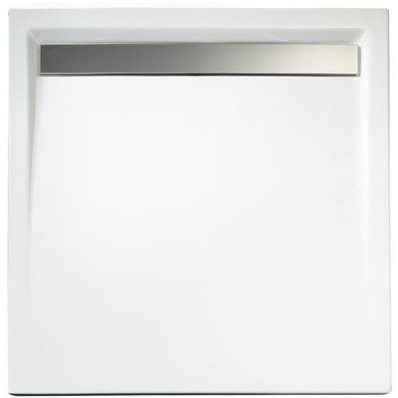 Schulte Duschwanne, Sanitäracryl, mit Rinne, Chromoptik, quadratisch, 100 x 100 x 2,5 cm