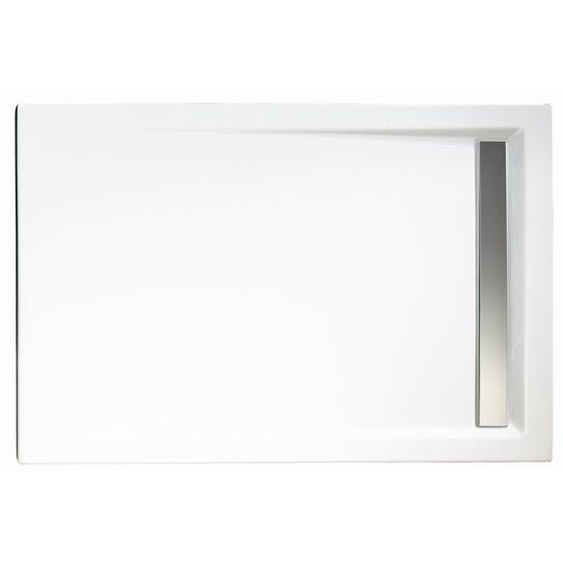 Schulte Duschwanne, Sanitäracryl, mit Rinne, Chromoptik, rechteckig, 100 x 90 x 2,5 cm
