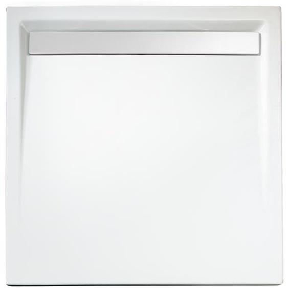 Schulte Duschwanne, Sanitäracryl, mit Rinne, weiß, quadratisch, 100 x 100 x 2,5 cm
