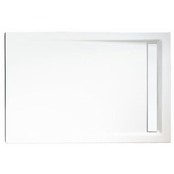 Schulte Duschwanne, Sanitäracryl, mit Rinne, weiß, rechteckig, 120 x 80 x 2,5 cm