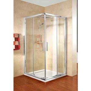 Schulte Eckeinstieg Kristall/Trend 90 cm x 80 cm x 185 cm Echtglas klar hell