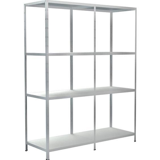 Schulte Regal-Set 1 Steckregal/Kellerregal und 1 Anbauregal 180 cm x 200 cm x 50 cm Weiß