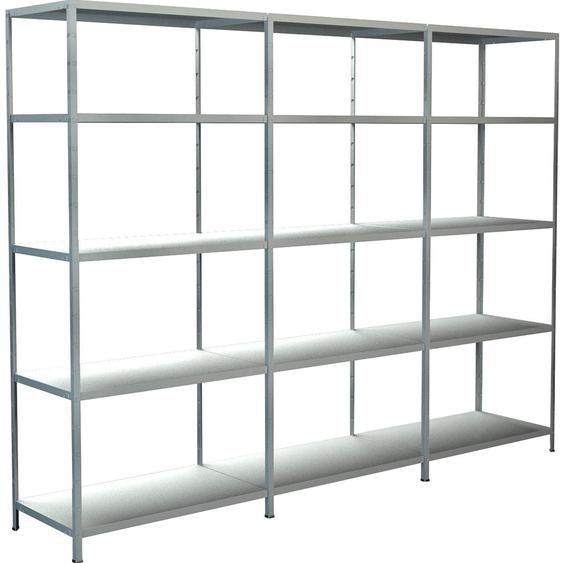 Schulte Regal-Set 1 Steckregal/Kellerregal und 2 Anbauregale 200 cm x 260 cm x 50 cm Weiß
