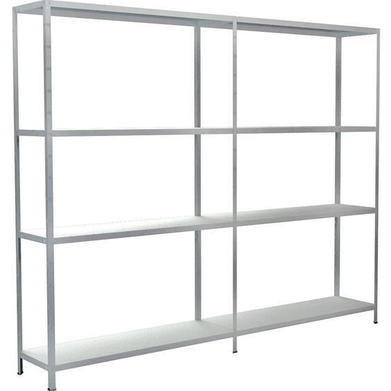 Schulte Set 1 Steckregal/Kellerregal und 1 Anbauregal Weiß 180 cm x 220 cm x 35 cm