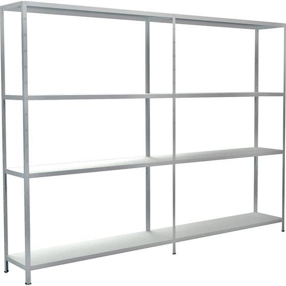Schulte Set 1 Steckregal/Kellerregal und 1 Anbauregal Weiß 180 cm x 240 cm x 35 cm