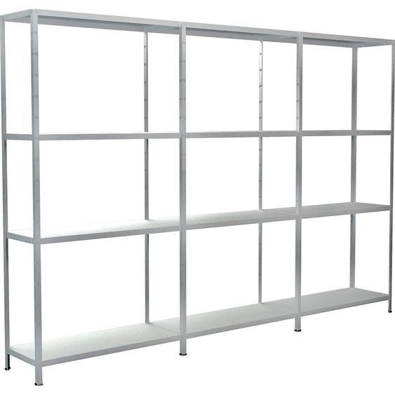Schulte Set 1 Steckregal/Kellerregal und 2 Anbauregale Weiß 180 cm x 260 cm x 35 cm