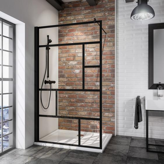 Schulte Walk In Dusche Alexa Style 2.0 Black Style teilgerahmt, schwarz, 100 x 200 cm