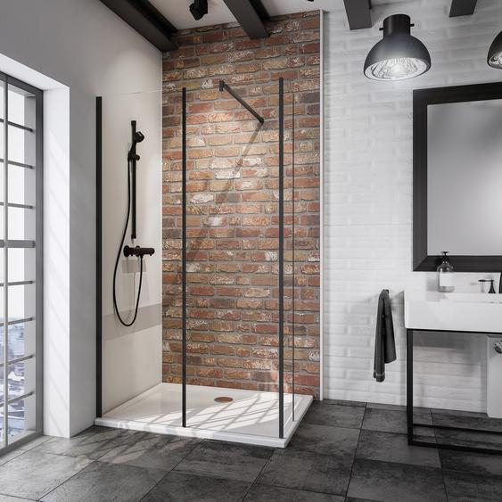 Schulte Walk In Dusche Alexa Style 2.0 Loft teilgerahmt, schwarz, 120 x 200 x 30 cm, 2-teilig