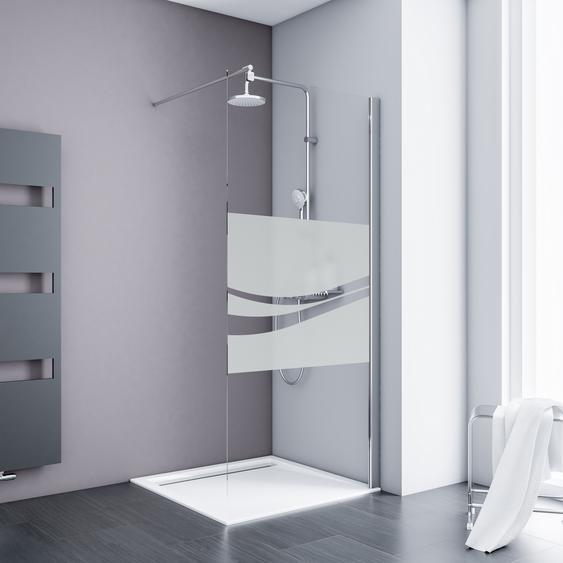 Schulte Walk In Dusche Alexa Style 2.0 teilgerahmt, Liane-Dekor quer, Chromoptik, 100 x 190 cm