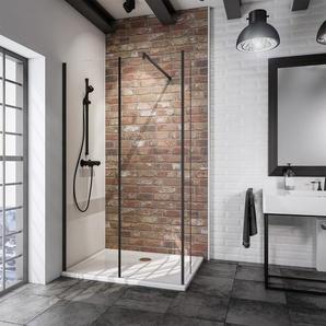 Schulte Walk In Loft 2-teilig mit feststehendem Element 200 x 120 cm Schwarz