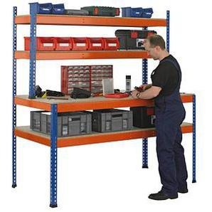 SCHULTE Werkbank blau, orange 153,6 x 77,3 cm