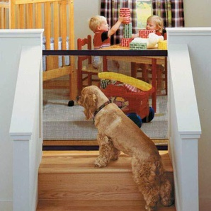 Schutztüren für Hunde - Delaman Portable Folding Safe Gehäuse, Einfache Installation, Baby Sicherheitszaun, Pet Sicherheitsnetz Gehäuse, Schwarz (Größe : 180 * 72cm)