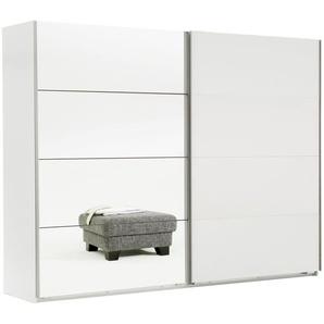 Geräumiger weißer Schwebetürenschrank mit Spiegelflächen - Arba