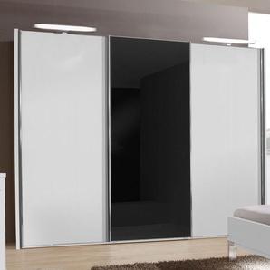 Designer Kleiderschrank Swift - weiß - 4-türig - Glas mittig - 330 cm