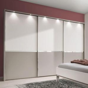 Schwebetüren-Kleiderschrank Tulsa, weiß, mit Passepartout-Rahmen - mit Beleuchtung (H + 4  cm
