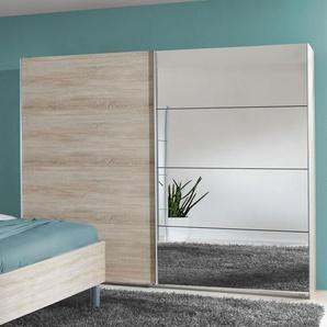 Schwebetüren-Kleiderschrank in Eiche Dekor mit Spiegel - Turania