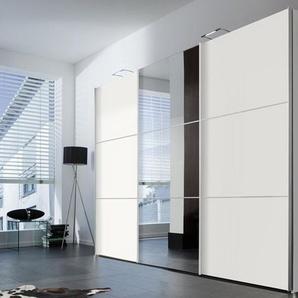 Schwebetürenkleiderschrank in Weiß mit Spiegelfront, B/H/T ca. 300/216/68 cm
