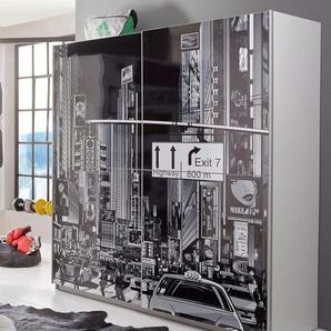 Schwebetürenschrank mit Motivdruck, weiß, Breite 170,3 cm, 2-türig, »Plakato«, FSC®-zertifiziert, FORTE
