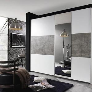 Schwebetürenschrank 2-trg. in alpinweiß mit Absetzungen in stone grey und 1 Spiegel, Maße: B/H/T ca. 261/210/59 cm