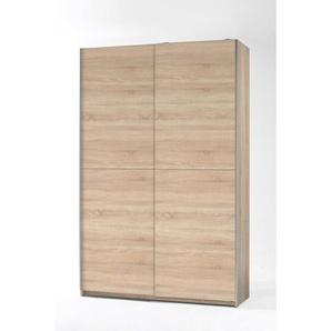 Schwebetürenschrank 2-trg. in Eiche Sonoma Nachbildung mit 6 Einlegeböden und 1 Garderobenauszug, Maße: B/H/T ca. 125/195,5/38 cm