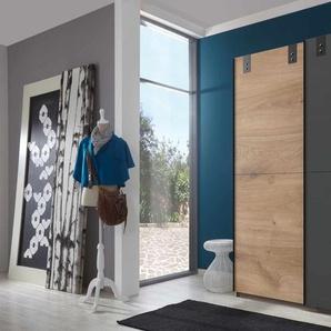 Schwebetürenschrank 2-trg. in Plankeneiche-Nachbildung mit Absetzungen in graphit, 2 Einlegeböden und 2 Kleiderstangen, Maße: B/H/T ca. 135/198/64 cm