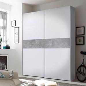 Schwebetürenschrank 2-trg. in weiß mit Abs. in Beton-Optik 2 Einlegeböden und 2 Kleiderstangen, Maße: B/H/T ca. 170/195/59 cm