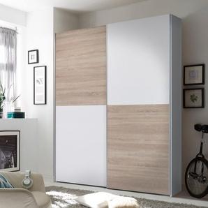 Schwebetürenschrank 2-trg. in weiß mit Abs. in Eiche Sonoma-Nachbildung, 2 Einlegeböden und 2 Kleiderstangen, Maße: B/H/T ca. 170/195/59 cm