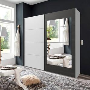 Schwebetürenschrank 2-trg. in weiß mit Absetzungen in Stahl-Optik, 4 Spiegelfeldern, 2 Kleiderstangen und 2 Böden, Maße: B/H/T ca. 225/210/65 cm