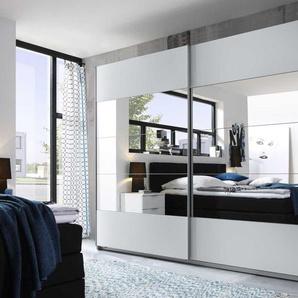 Schwebetürenschrank 2-trg. in Weiß mit Spiegeln, mit 3 Einlegeböden und 3 Kleiderstangen Maße: B/H/T ca. 270/210/60 cm