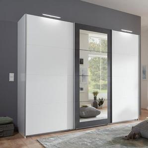 Schwebetürenschrank 3-trg. in weiß mit Absetzungen in Stahl-Optik, 4 Spiegelfeldern, 3 Kleiderstangen und 3 Böden, Maße: B/H/T ca. 270/210/65 cm