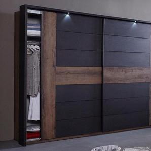 Schwebetürenschrank »Bellevue«, schwarz, Breite 270 cm, 2-türig, FSC®-zertifiziert, FORTE