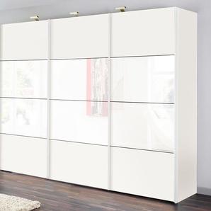 Schwebetürenschrank, weiß, Breite 300 cm, 3-türig, Hochglanz, Express Solutions