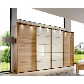 Schwebetürenschrank Eiche teilmassiv und Glas magnolie, Synchron-Öffnung, mit Passepartout-Rahmen und Beleuchtung,Maße: B/H/T ca. 340/221/67 cm