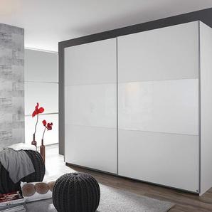 Schwebetürenschrank in alpinweiß/Absetzg weißes Glas, 2-türig, 3-fach unterteilt, 2 Böden, 2 Kleiderstangen, Maße: B/H/T ca. 261/210/59 cm
