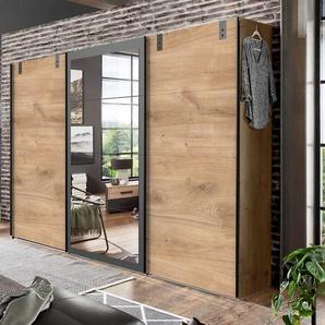 Schwebetürenschrank in Plankeneiche-Nachbildung, Absetzungen in graphit, Spiegelfläche, 3 Böden und 3 Kleiderstangen, Maße: B/H/T ca. 270/210/65 cm