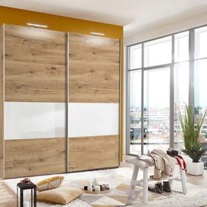 Schwebetürenschrank in Plankeneiche-Nb./Glas weiß, mit 2 Einlegeböden und 2 Kleiderstangen, Maße: B/H/T ca. 225/210/65 cm