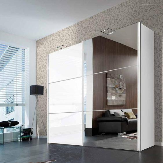 Schwebetürenschrank in weiß, Front in Hochglanz weiß und Spiegel, 3 Elemente mit je 1 Kleiderstange und Einlegeboden, Maße: B/H/T ca. 250/216/68 cm