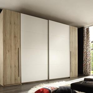 Schwebetürenschrank Kleiderschrank Schrank Schlafzimmerschrank Eiche Weiß 315 cm