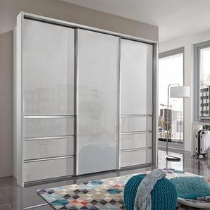 Schwebetürenschrank »Malibu«, 250 x 236 x 67 BxHxT cm, weiß, WIEMANN, Nadelstreifen