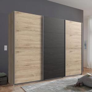 Schwebetürenschrank »Minden«, beige, Breite: 270 cm, Eichefarben Hickory/Raw steel, Wimex