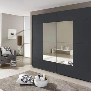 Schwebetürenschrank mit Spiegel in grau-metallic, 2-türig, 3 Einlegeböden, 3 Kleiderstangen, Maße: B/H/T ca. 261/210/59 cm