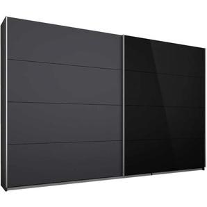Schwebetürenschrank Quadra in grau metallic/Glas schwarz