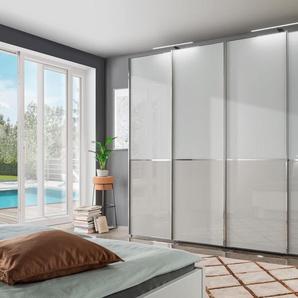 Schwebetürenschrank mit Panorama-Tür und Glasfront, weiß, BxHxT, »Shanghai«, WIEMANN