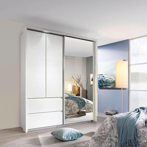 Schwebetürenschrank mit Spiegel, weiß, B x H x T, »Wetzlar«, mit Schubkästen, rauch